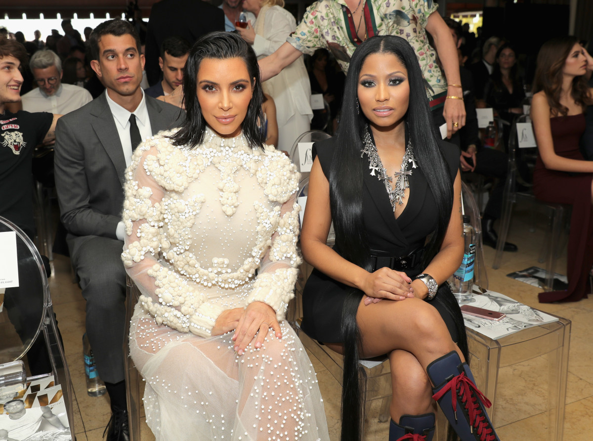 Kim Kardashian and Nicki Minaj at the Third Annual Daily Front Row Awards. Photo: Neilson Barnard/Getty Images